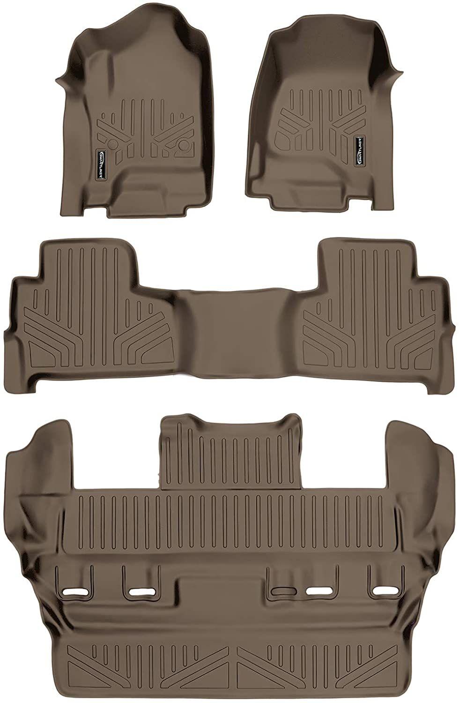 Smartliner Custom Fit Floor Mats 3 Row Liner Set Tan For 2015 2020 Chevrolet Tahoe Gmc Yukon Chevrolet Tahoe Gmc Yukon Yukon