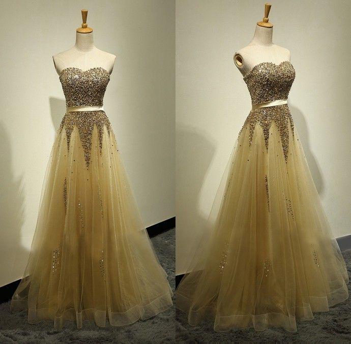 Sexy Prom Dresses,Beaded Homecoming Dress,Floor Length Handmade Beaded Gold Prom Dress by DestinyDress, $225.00 USD