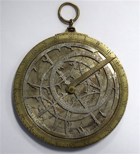 brass-and-silver astrolabe, made in 1590