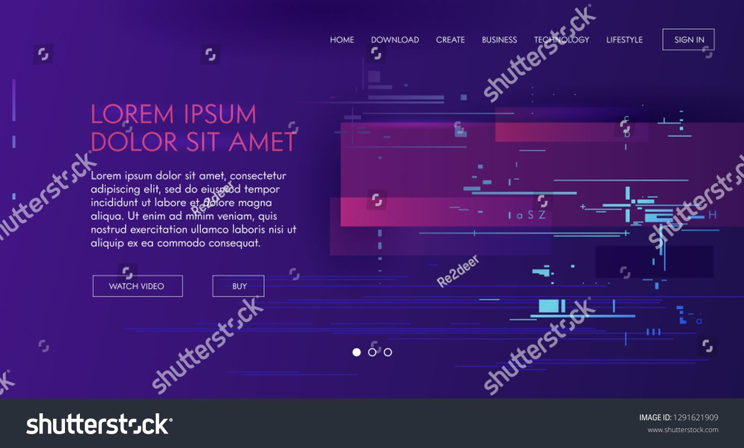 Landing website page design. Vector colorful glitch dynamic effect digital art for your screen site. Interface purple concept graphic art #Ad , #sponsored, #colorful#Vector#dynamic#glitch