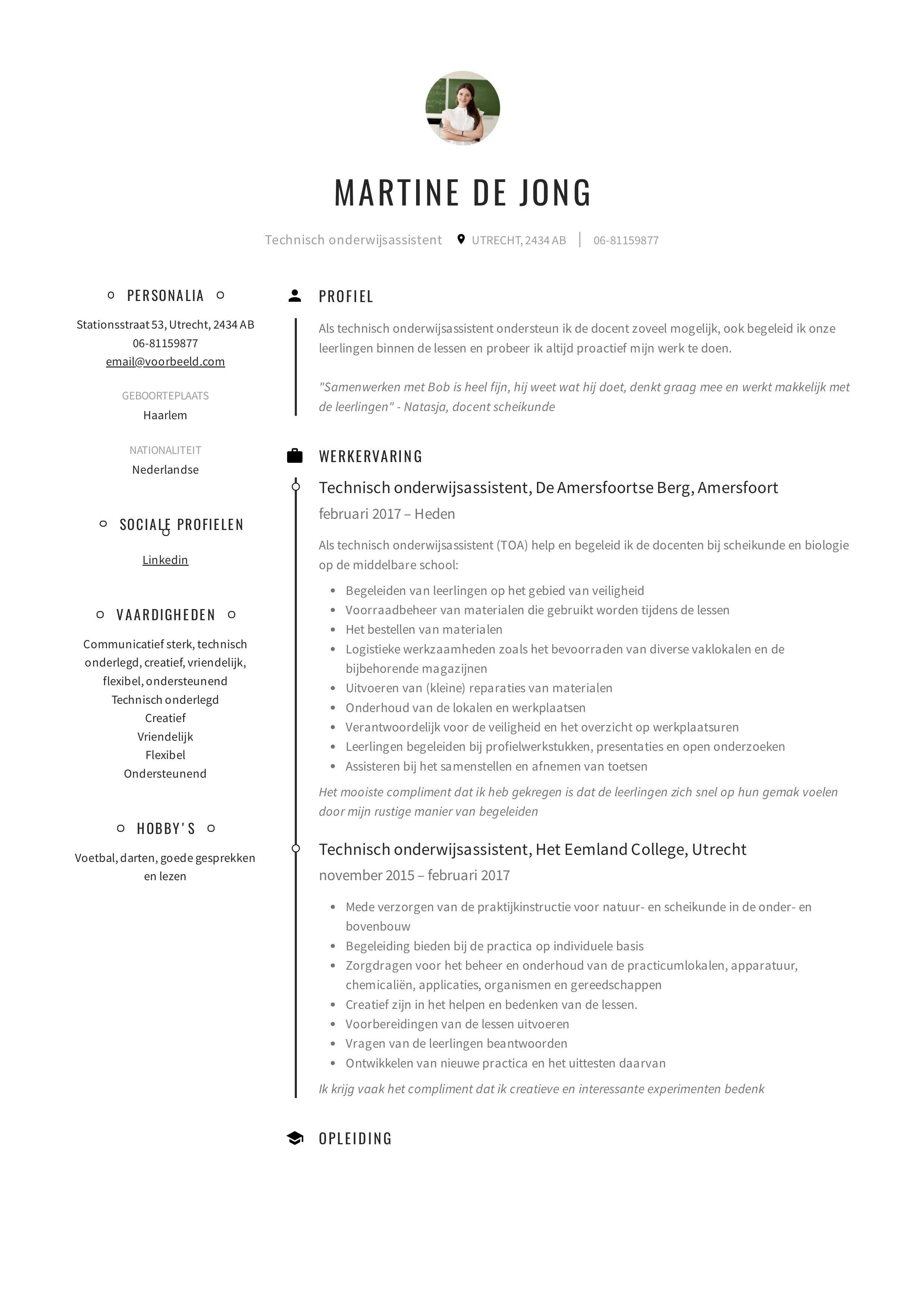 CV maken CV Technisch onderwijsassistent (Handleiding