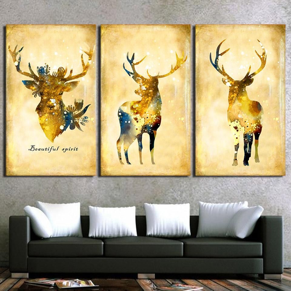 HD printed 3 Piece Golden Deer Elk animal Wall Art Paintings for ...