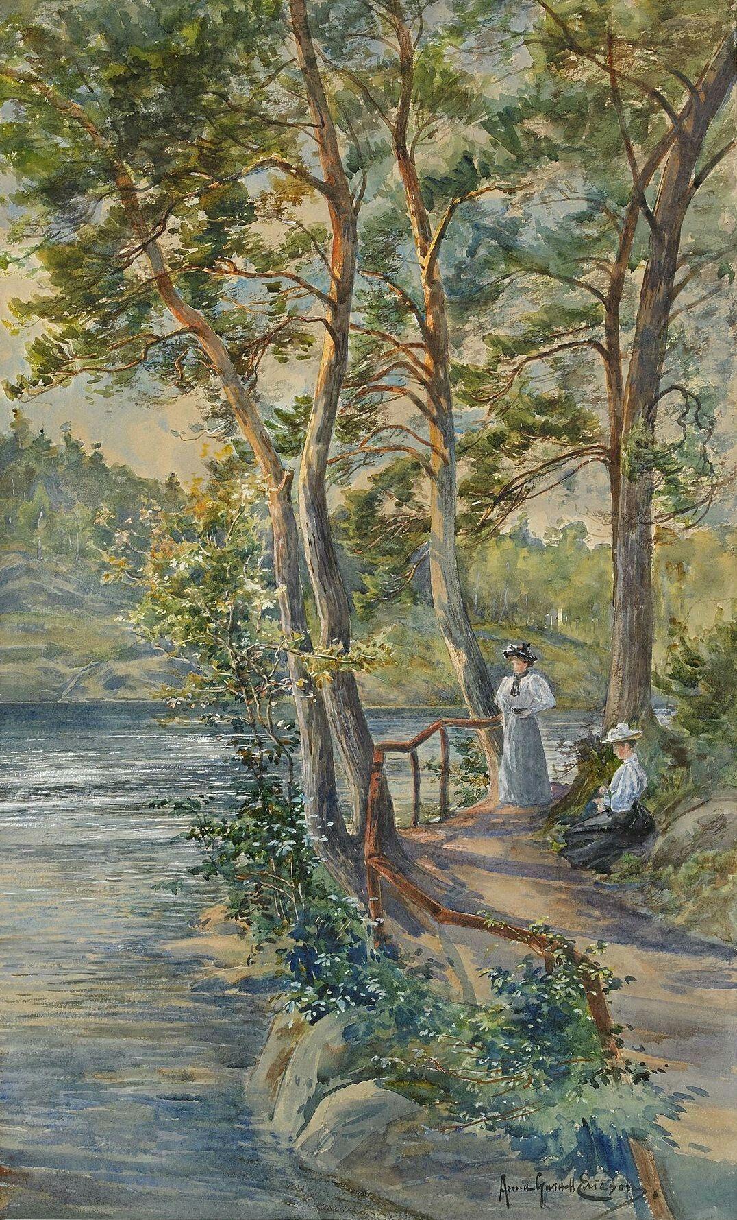 Anna Gardell-Ericson (Swedish, 1853 - 1939):Vilostund vid Delsjön