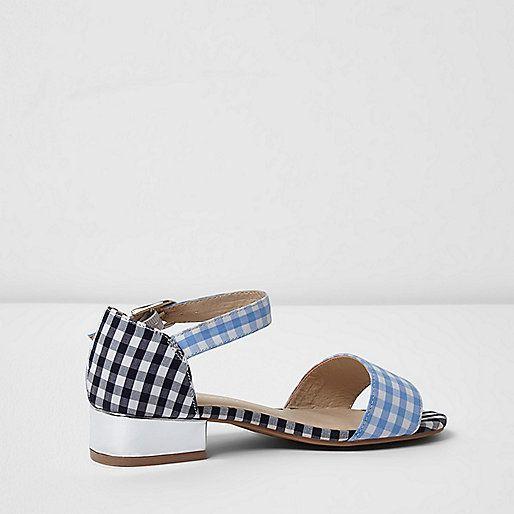 Woven fabric upper Gingham print Two strap design Buckle fastening Open toe Contrast block heel Heel 3cm