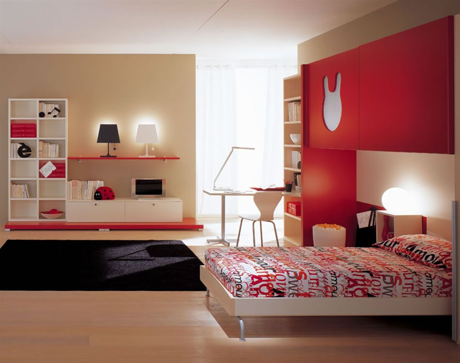 20 contemporary kids room interior design ideas modern for Red cream bedroom designs