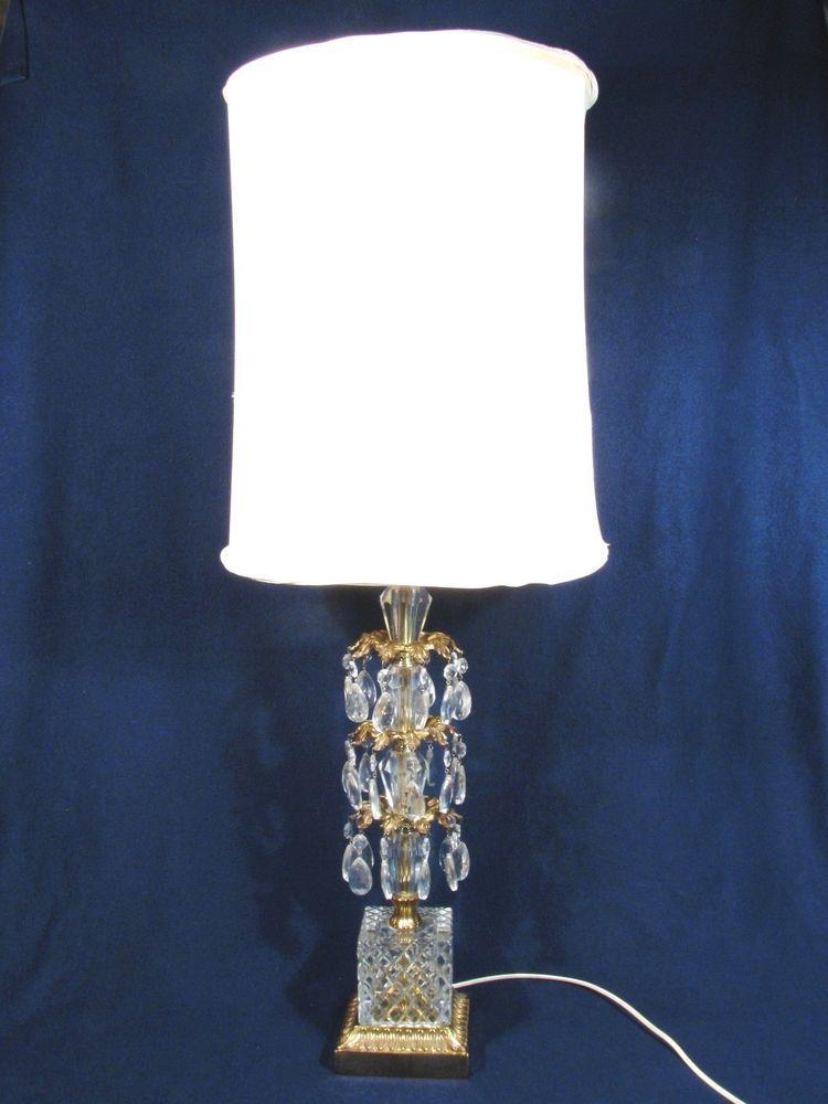 Vintage 3 Tier Brass Base Crystal Prisms Electric Table Lamp W Shade 36 Crystal Prisms Lamp Table Lamp