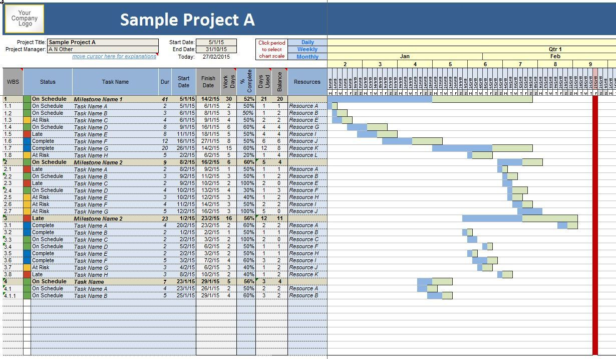 Project Planner Work Task  Time Manager Gantt Chart Excel