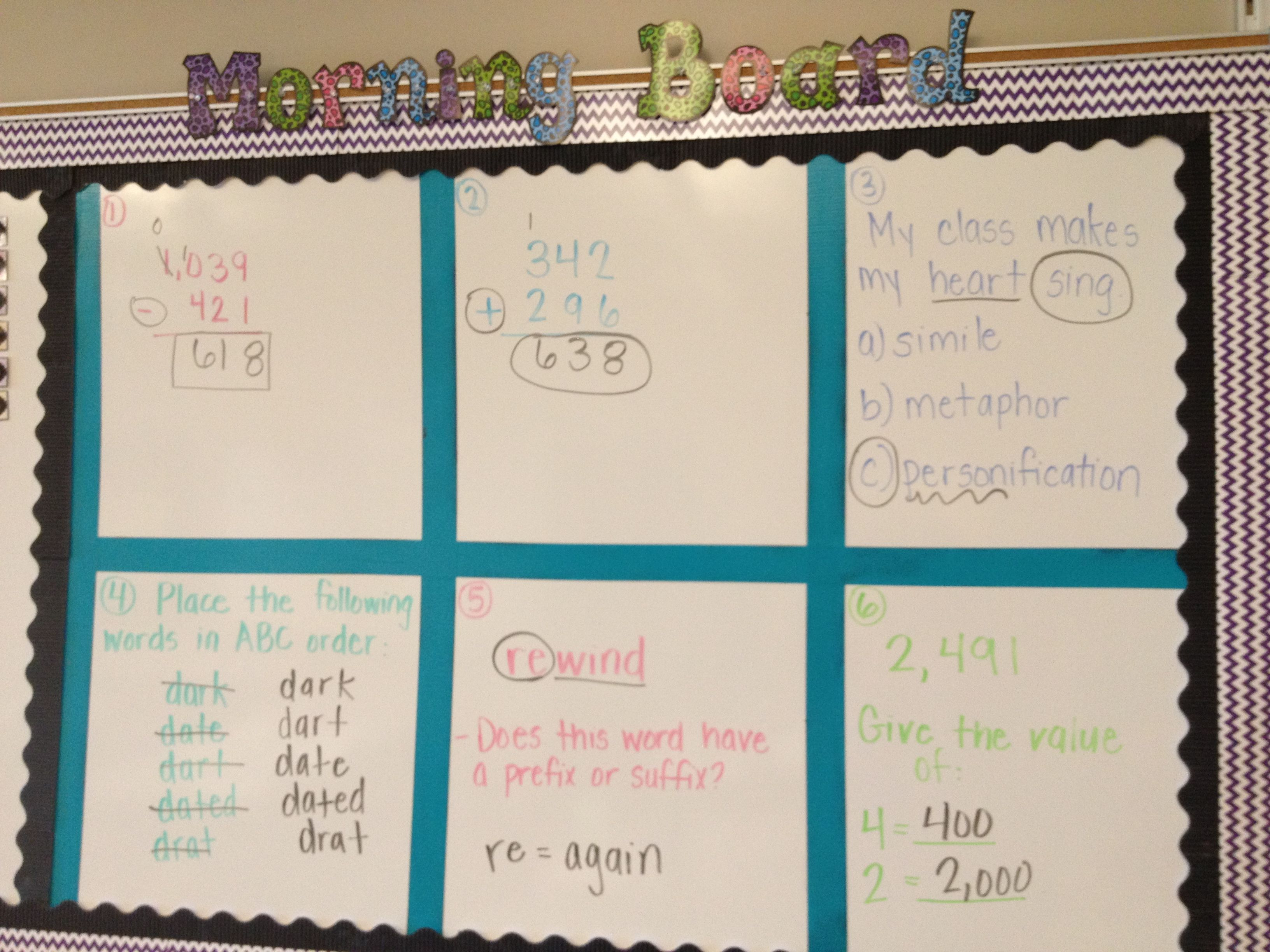 Our Morning Board For Morning Work 4th Grade Internship Classroom Morning Routine Math Instruction Creative Classroom [ 2448 x 3264 Pixel ]