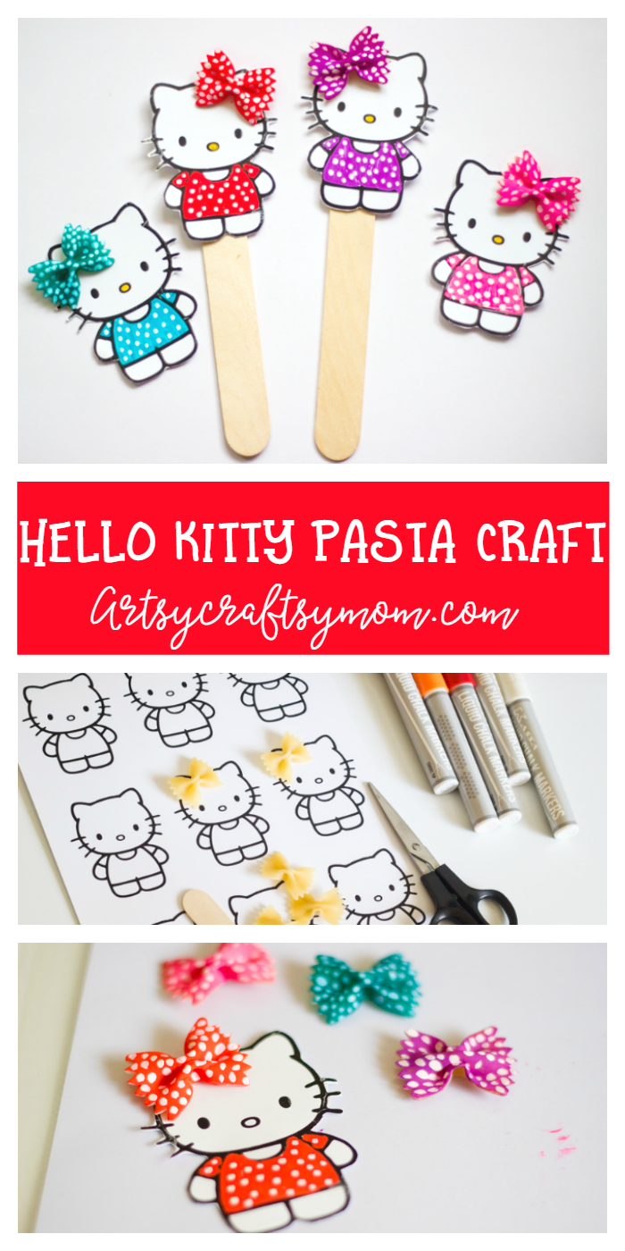 super cute hello kitty craft bookmark using pasta- free printable