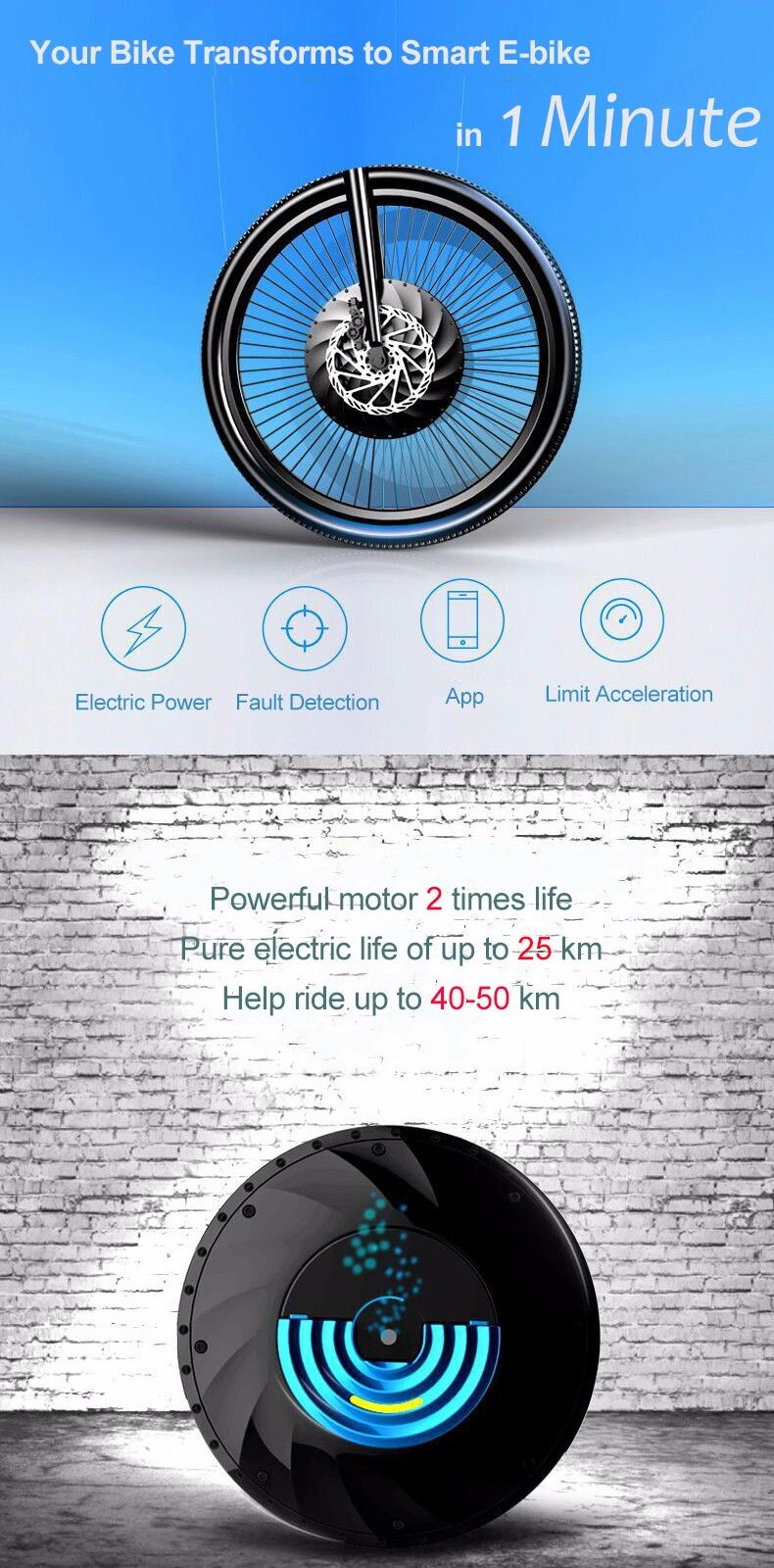 iMortor 26 inch MT1.9 3 In 1 Intelligence Bicycle Wheel Permanent ...