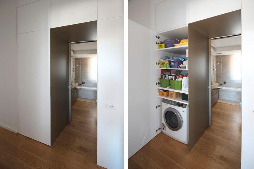 Contenere in una colonna lavatrice e asciugatrice for Armadio dispensa moderno