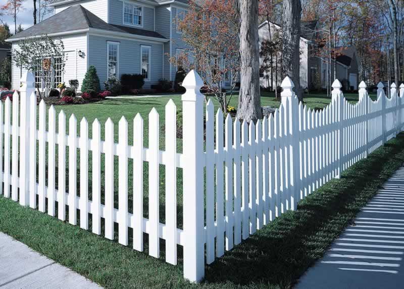 White Fencing Cape Cod Vinyl Picket Fence Concave