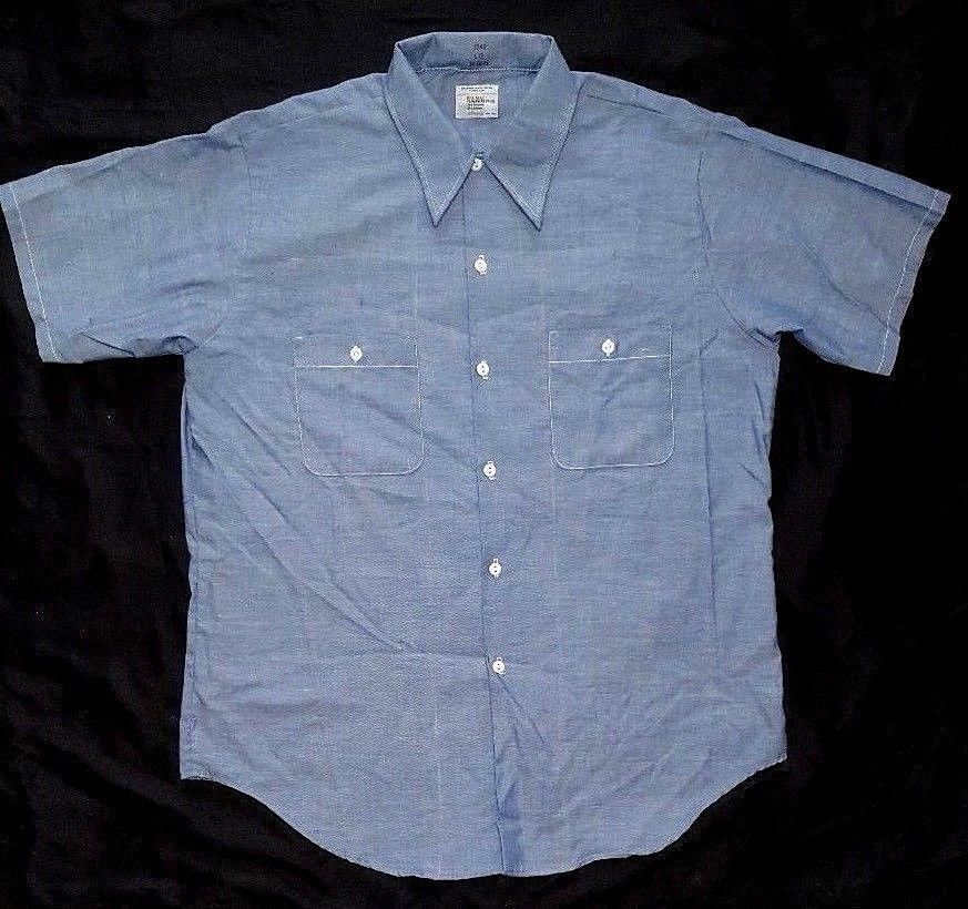 cc027e8f334a vtg BIG MAC SHIRT CHAMBRAY Shirt JCPENNEY Workwear SELVEDGE L 16-16.5 Work  NEW  BigMacJCPenney  ButtonFront