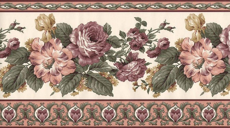 Rose Border For The Living Room Tags Border Border Victorian Wallpaper Border Wallpaper Border Kitchen Rose Wallpaper