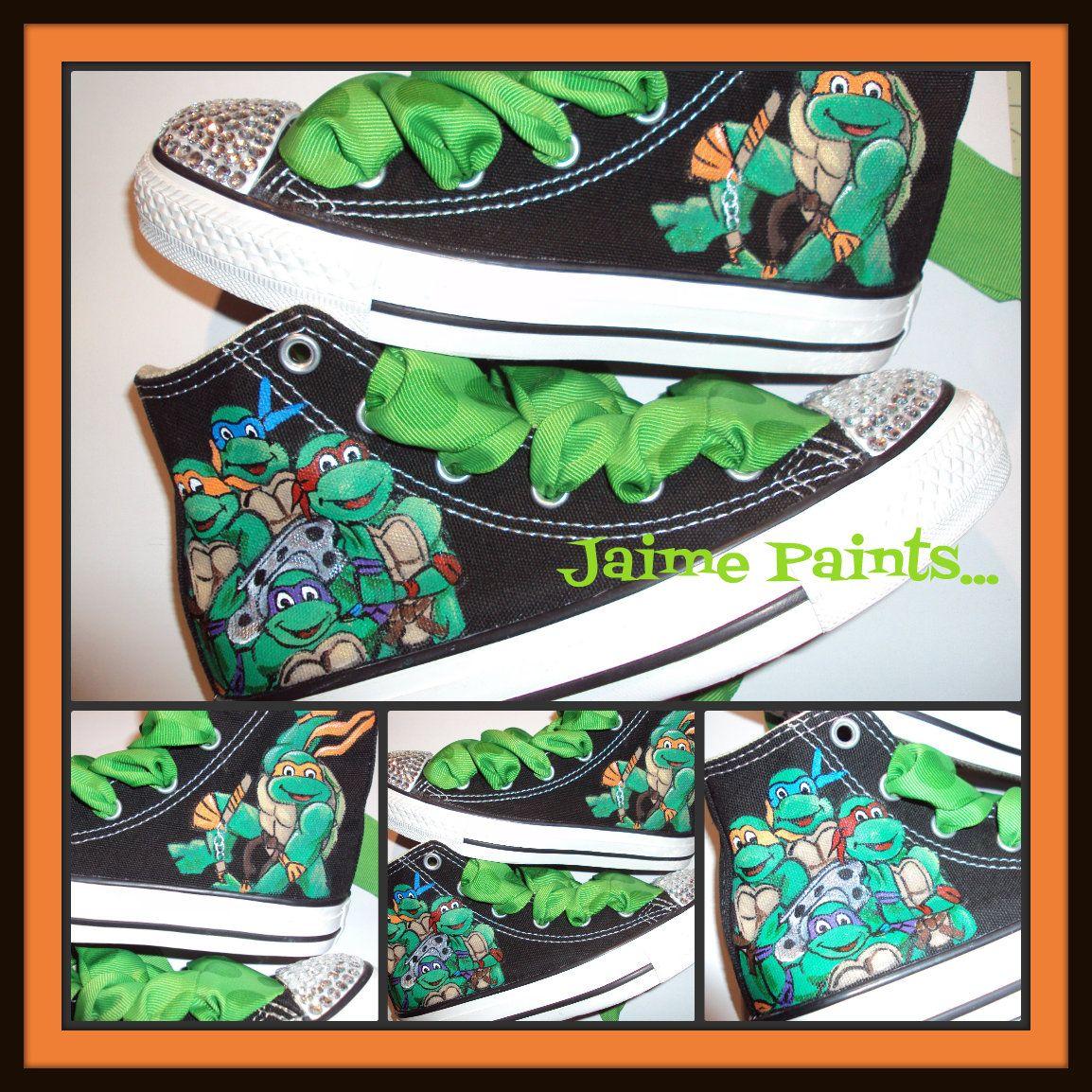 89d7e0b64756 TMNT Girls love Teenage Mutant Ninja Turtles TOO!!! Hand painted TMNT  Converse with bling