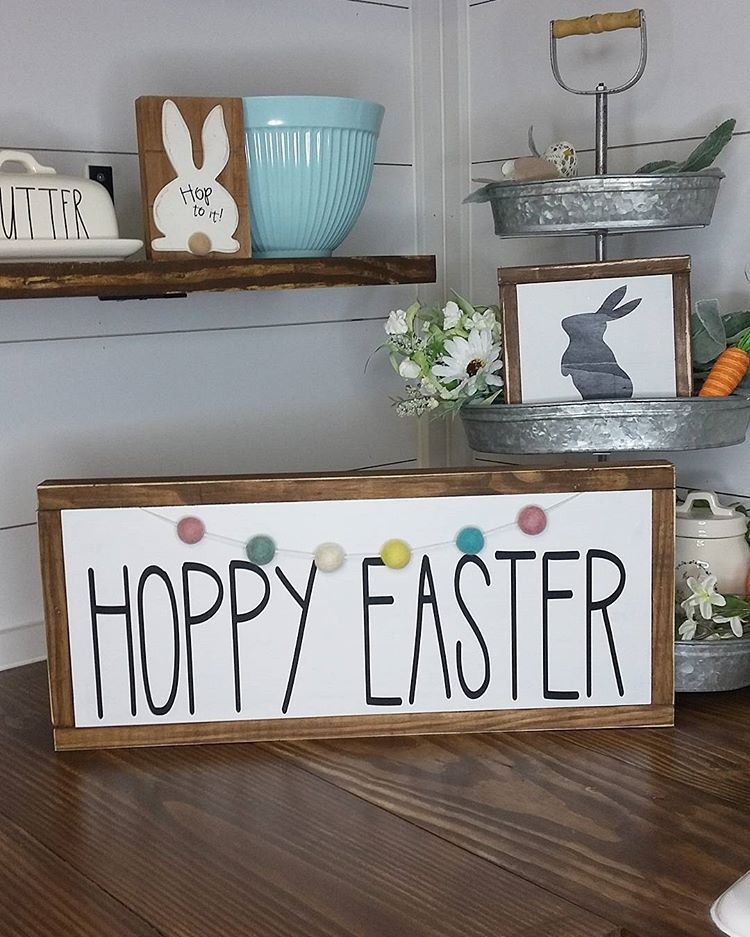"""Dixie Do Designs on Instagram: """"♡ Custom Order ♡ I absolutely I'm in LOVE with this custom order. So I know the Hoppy Easter is from Rae Dunn buuuut @graceinspiredwood…"""""""