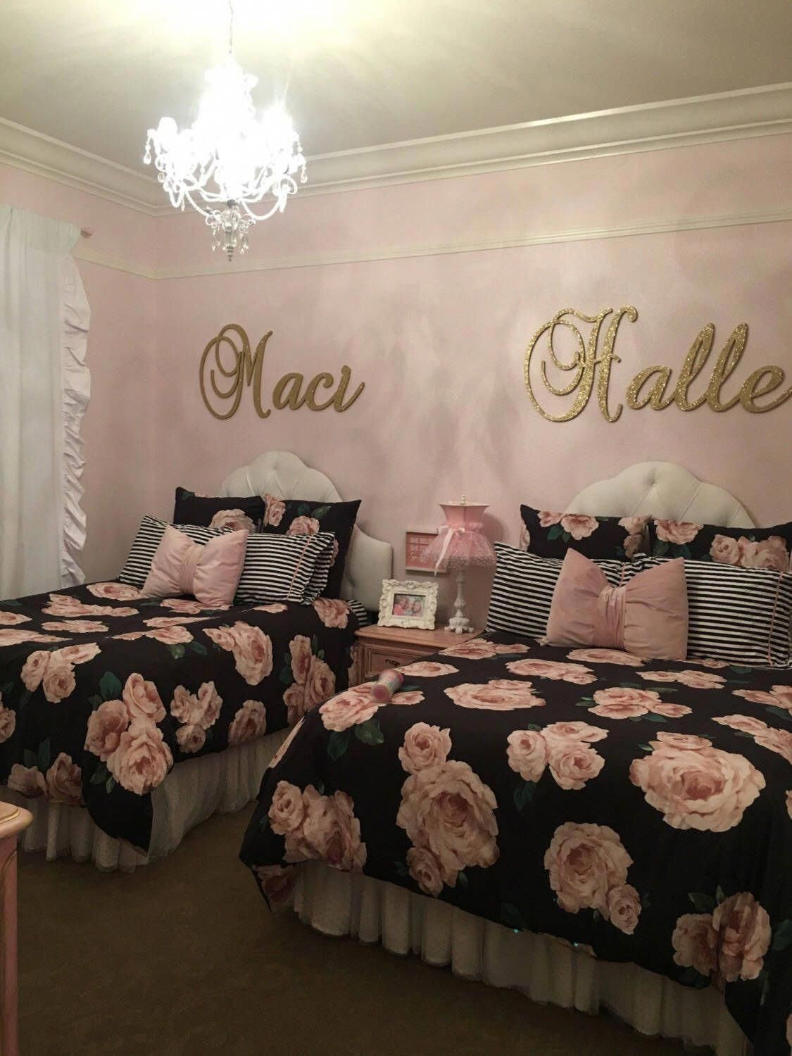 Glittered Baby Girl Nursery Letters Wall Letters Wood Letters for