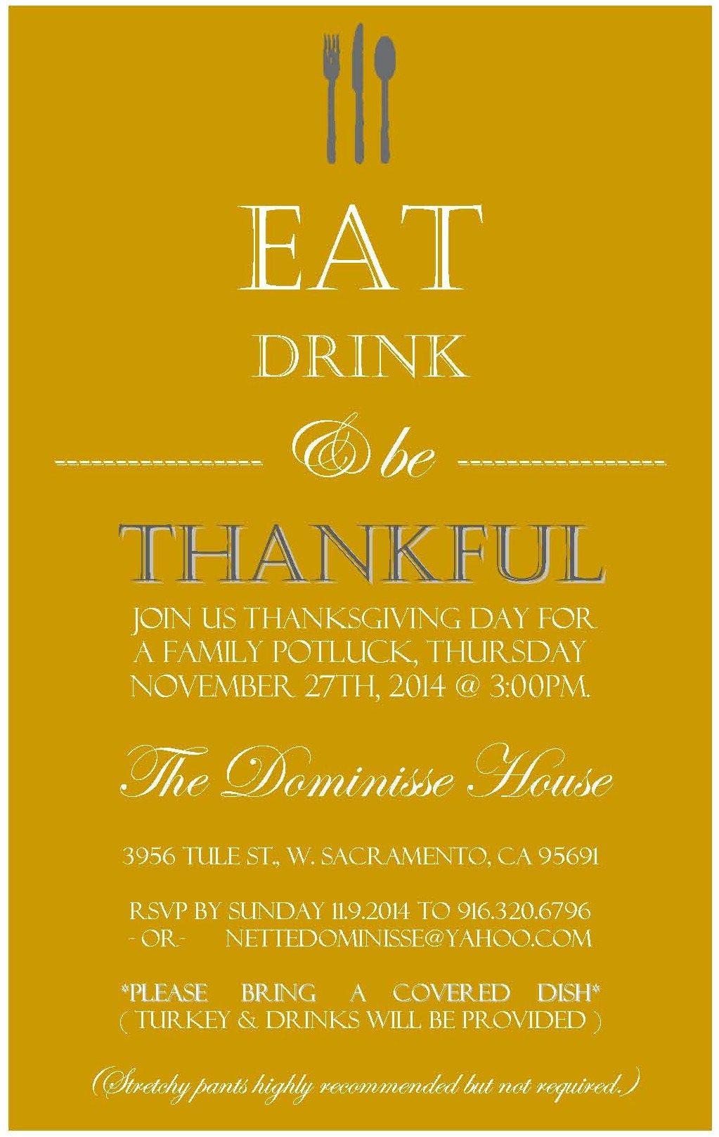 Thanksgiving Potluck Invitation Potluck Invitation