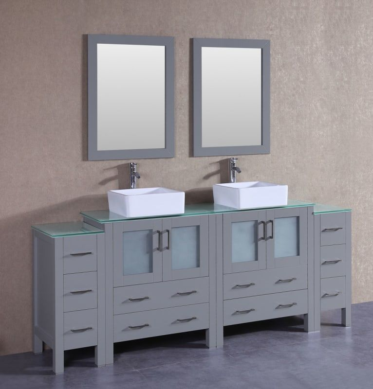 Bosconi A230cbecwg2s 84 Free Standing Vanity Set With Wood Cabinet Tempered Gl Gray Fixture Double