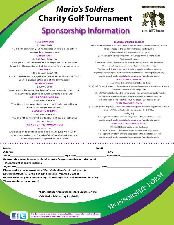 New Mariou0027s Soldiers Charity Golf Tournament Sponsor Packages - free sponsor form template