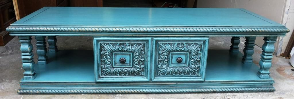 Before & After Sea-Blue Chunky Tables | Facelift Furniture | 70's furniture updated - Remember these?