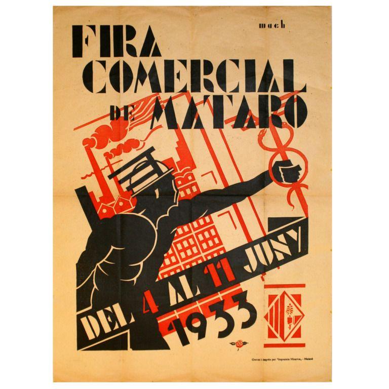 Rare Original Vintage Spanish Advertising Poster, Fira Comercial de Mataro 1933, Constructivist Graphic Design