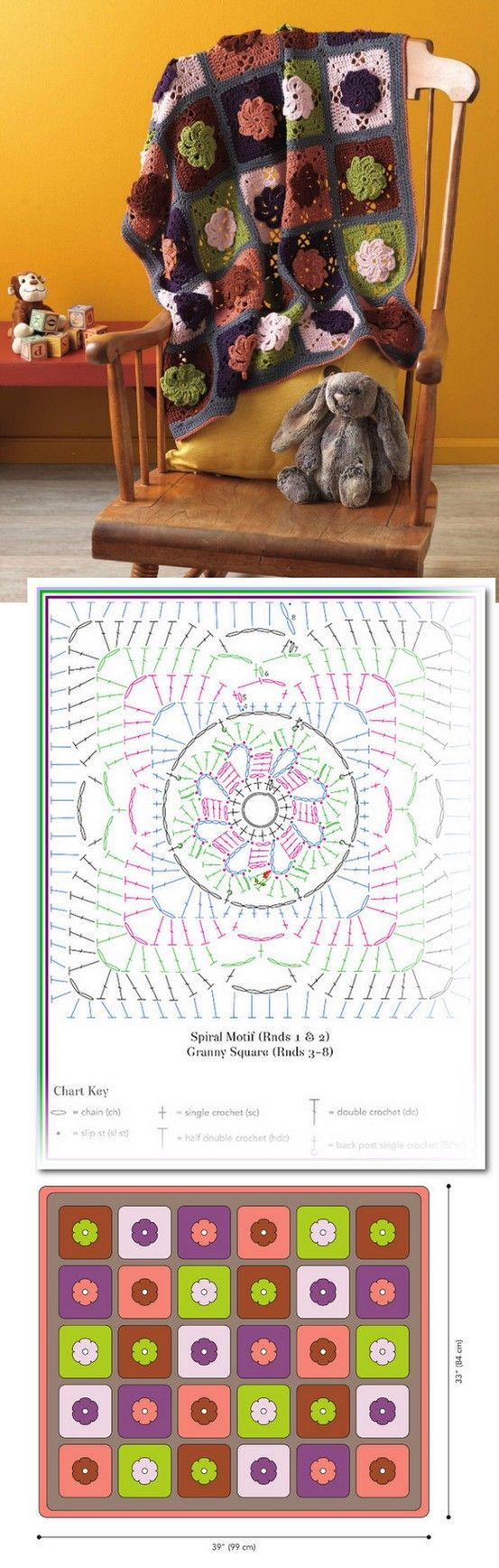 The spiral flower crochet afghan! Idea for using discontinued Red ...
