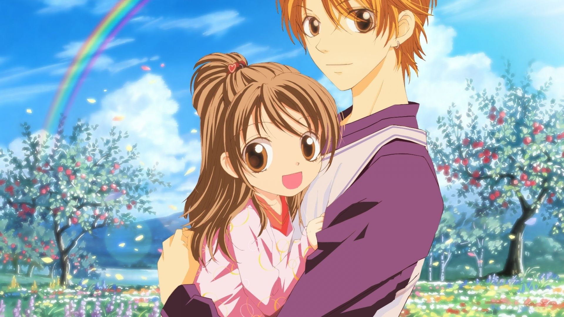 Download Wallpaper 10x10 aishiteruze baby, boy, girl, hug, sky