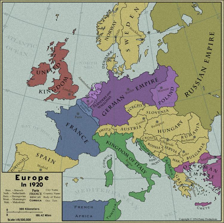 1920 map of europe Map of Europe in 1920   Europe map, Map, Historical maps