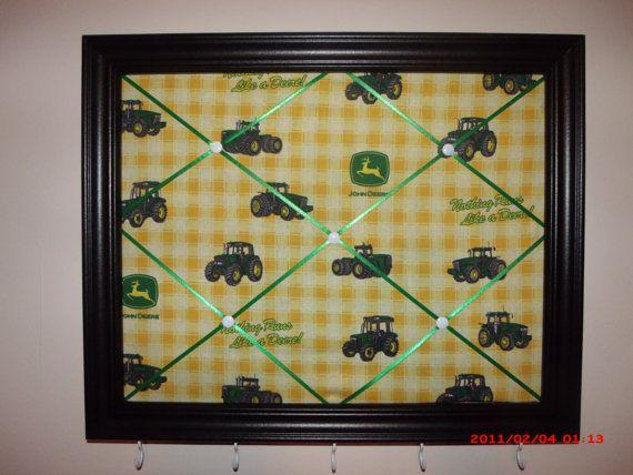 John Deere Framed Memo Board With Hooks By Beautifulali On Etsy - John deere idees de decoration de chambre