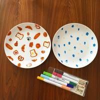 白いお皿をキャンバスに♪陶磁器用のお絵描きペンを使った
