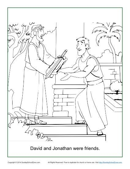 David And Jonathan Were Friends Coloring Page Sunday School