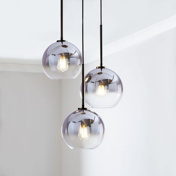 Sculptural Glass 3 Light Round Globe Chandelier Small Globe