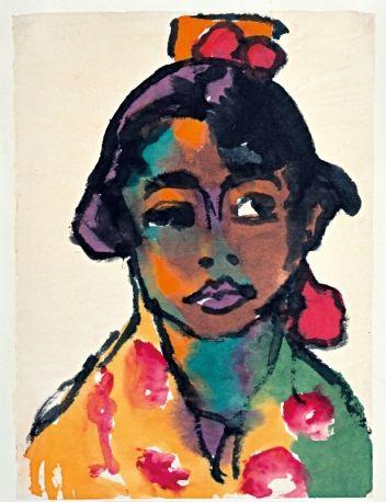 Emil Nolde, portrait de jeune saltimbanque ? Superbe sens de l'observation  et de la couleur.