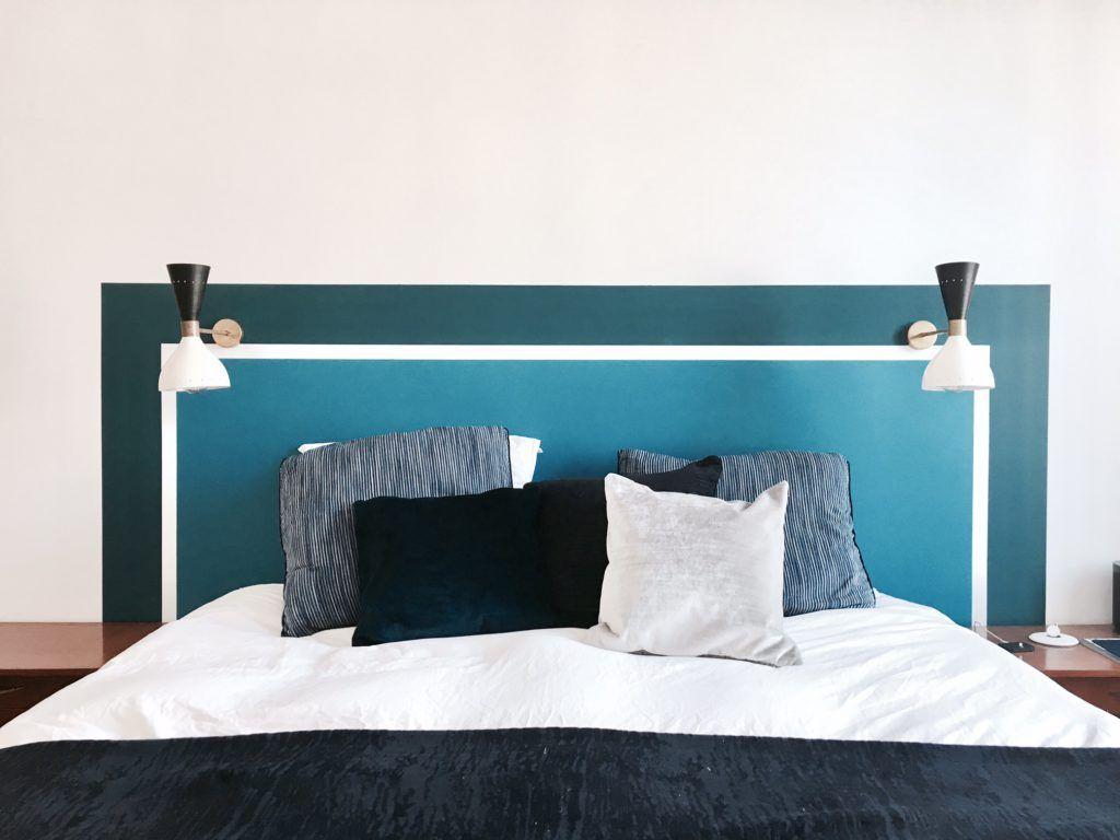 Tete De Lit Bleu Canard Peinture visite privée chez paolo et anna | tête de lit papier peint