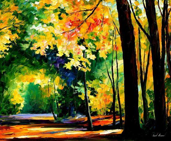 Morning Forest — PALETTE KNIFE Landscape Oil Painting On Canvas by Leonid Afremov, $319.00