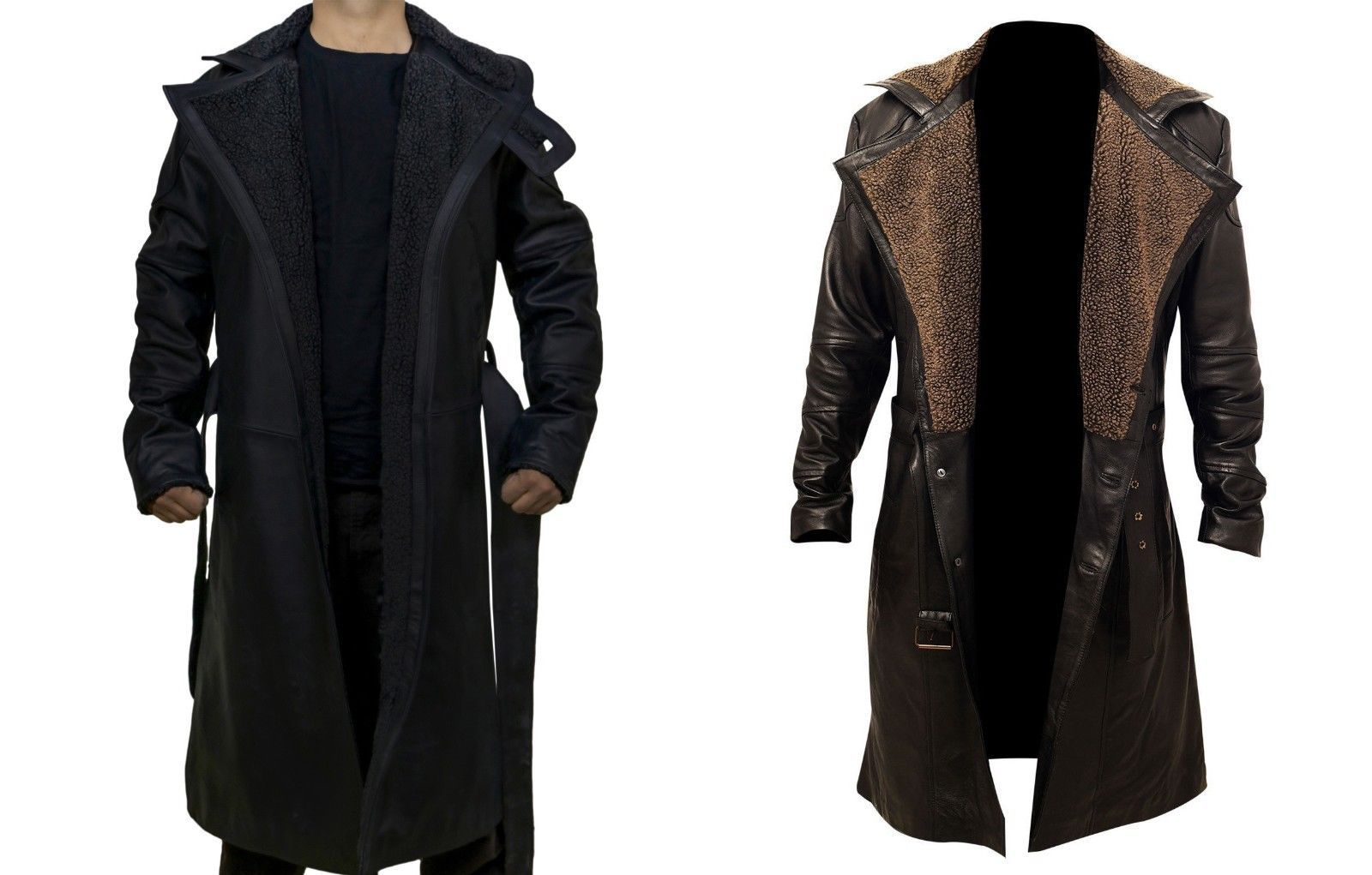 Mens Blade Runner 2049 Officer K Ryan Gosling Long Brown Leather Trench Coat