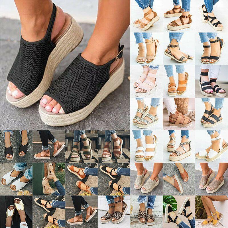 Wedge Sandalen Damenschuhe Sommer Pantoletten Zehentrenner Strass Platform Pump
