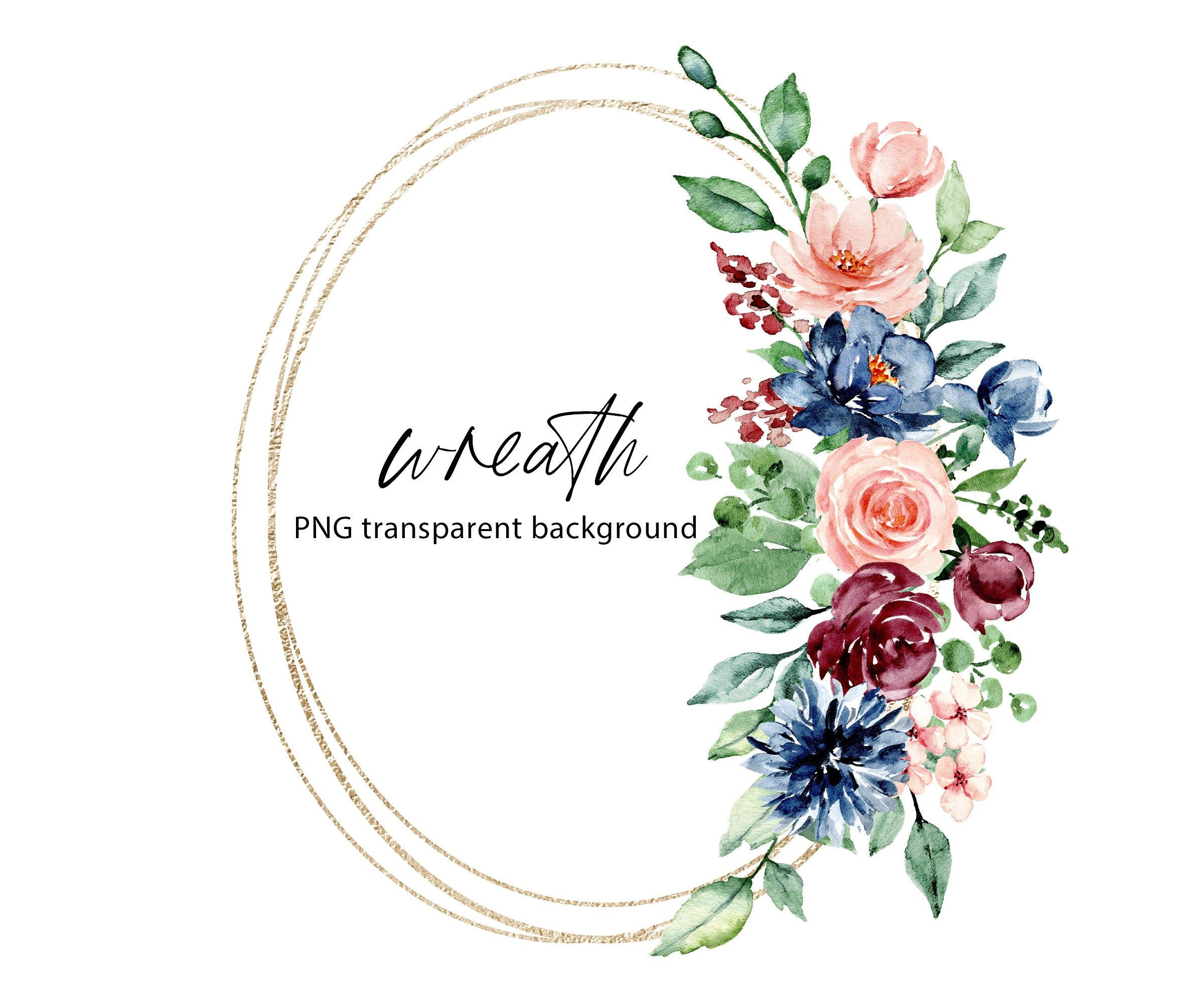 Watercolor Flowers Florals Leaves Birds Bouquet Magnolias Valentines Wedding Hand Painted PNG Spring Wedding Stationery Rose Gold flowers