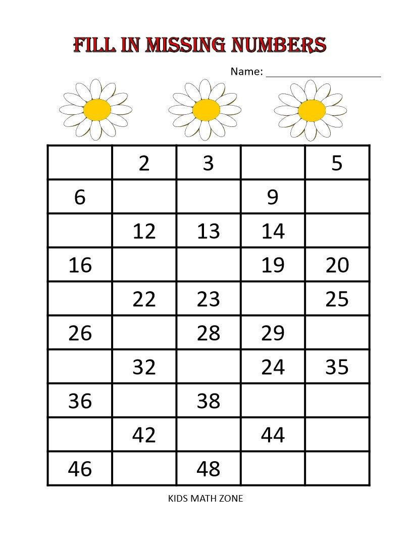 Fill in Missing Numbers Printable Worksheets, Preschool