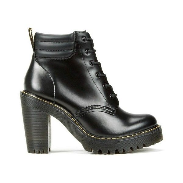 Dr. Martens Women's Seirene Persephone 6-Eye Padded Collar Heeled... (750 PLN) ❤ liked on Polyvore featuring shoes, boots, black, short black boots, dr martens boots, black boots, lace up high heel boots and leather ankle boots