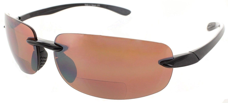 a15c47da7c Bifocal Sunglasses Rimless Readers Lightweight - Non-polarized Black  Frame Copper Day Driving Lens - C111X6ZFXLJ - Men s Sunglasses