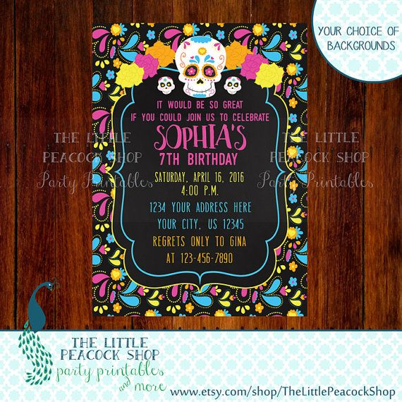Sugar Skull Day Of The Dead Digital And Printable Birthday Party Invitation Birthday Party Invitations Printable Birthday Party Invitations Sugar Skull Party
