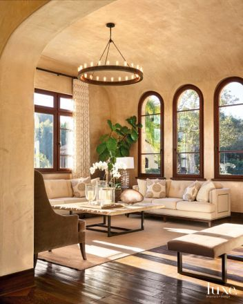 Photo of Transitional Neutral Living Room with Venetian Plaster Walls | Luxe Interiors + Design