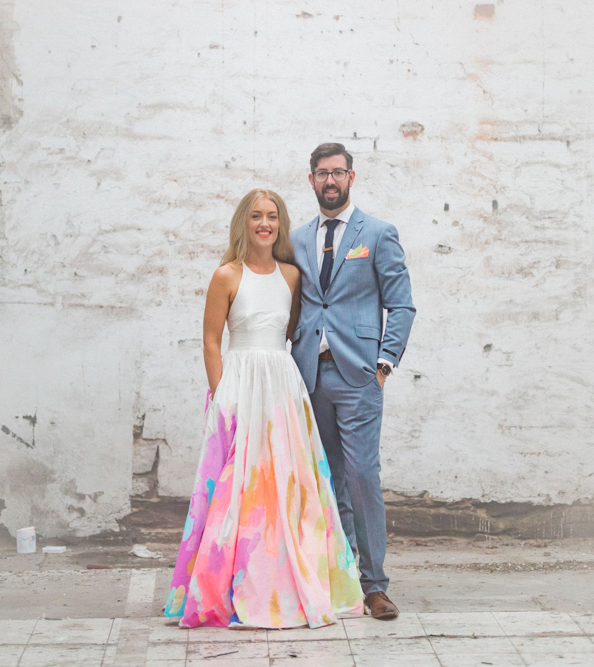 The Bride Wore A Hand Painted Rainbow Wedding Dress Green Wedding Shoes Funky Wedding Dresses Rainbow Wedding Dress Green Wedding Dresses
