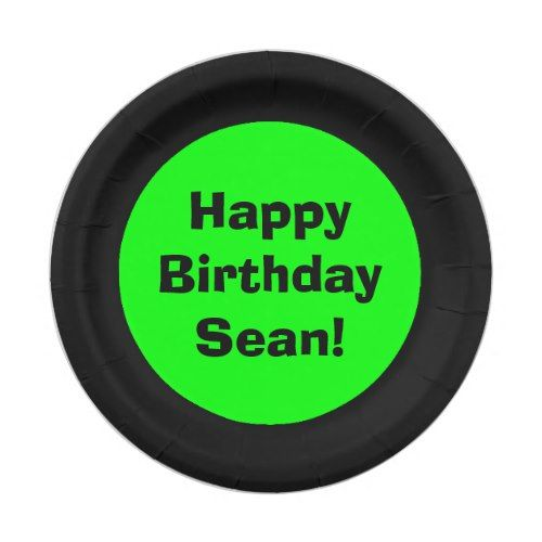 Personalized Black and Lime Green Happy Birthday Paper Plate | Party Paper Plates | Pinterest | Happy birthday Limes and Birthdays  sc 1 st  Pinterest & Personalized Black and Lime Green Happy Birthday Paper Plate | Party ...