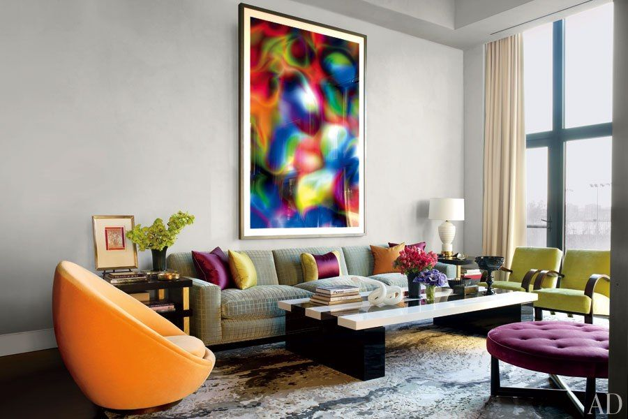 colorful living room chairs. Look Inside Jamie Drakes Ultra Chic New York City Apartment Modern colorful living room