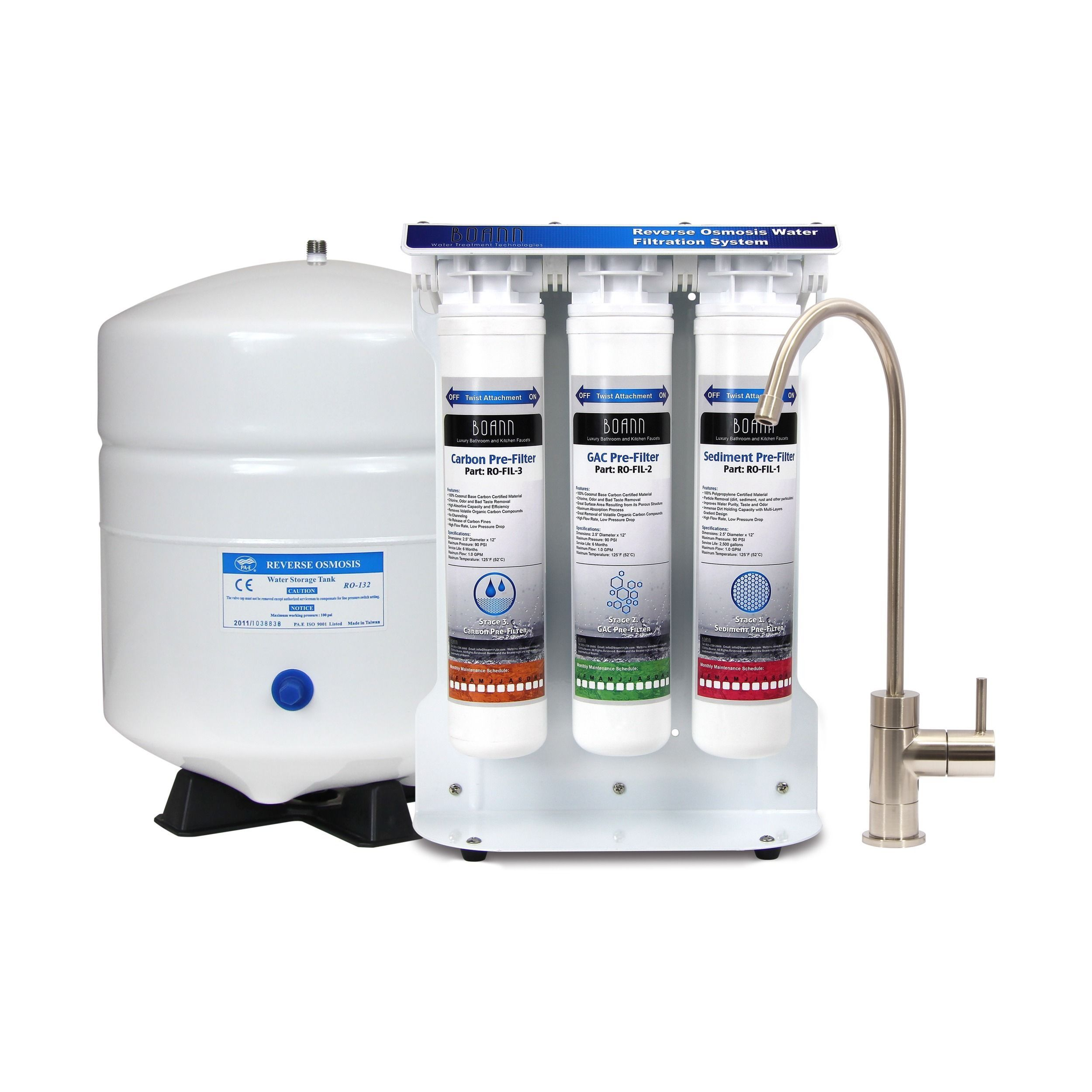 Boann 5 stage Reverse Osmosis Water Filter System with Quick twist