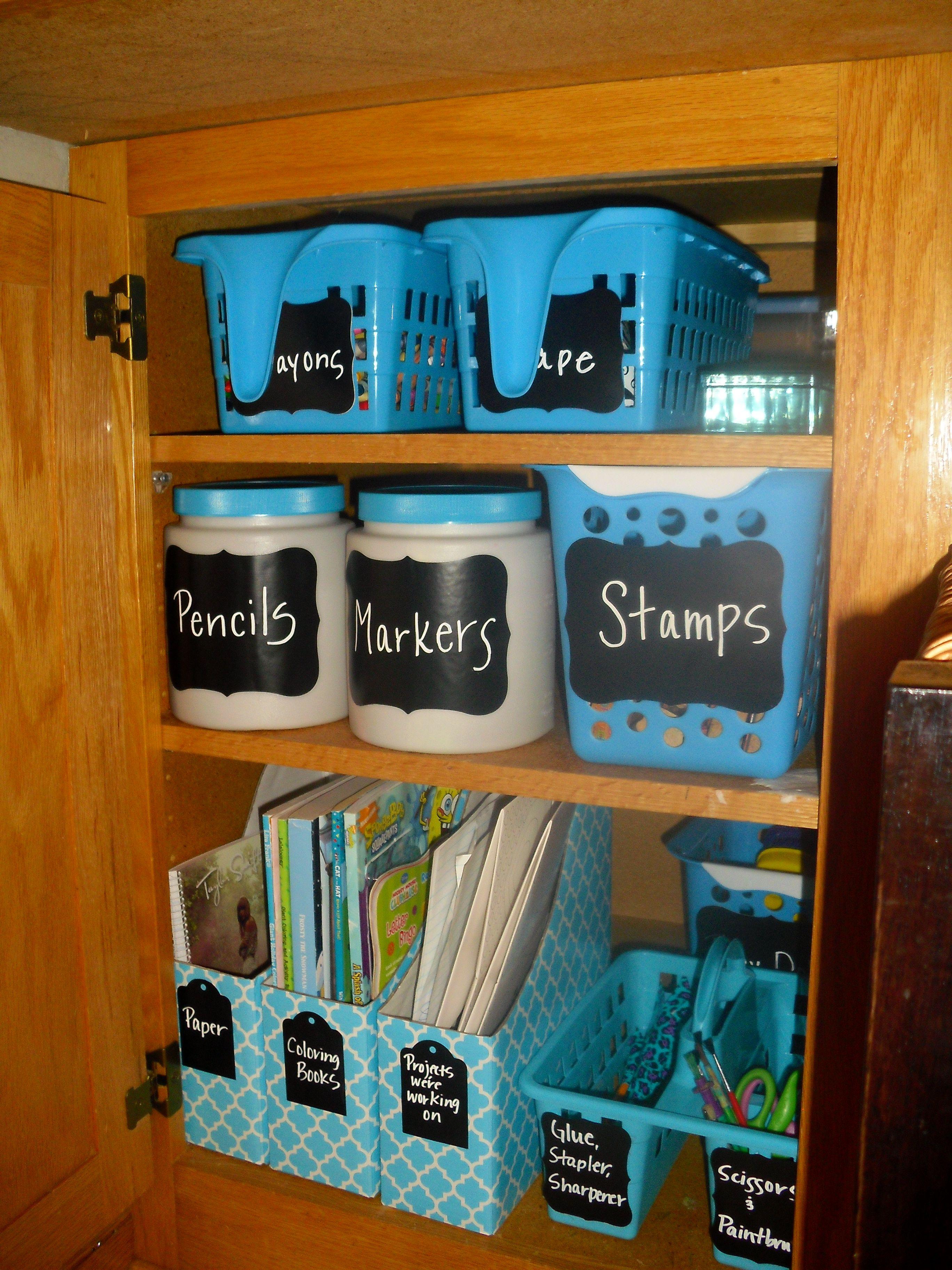 Kid S Craft Cupboard Re Do Organize The Kids Craft