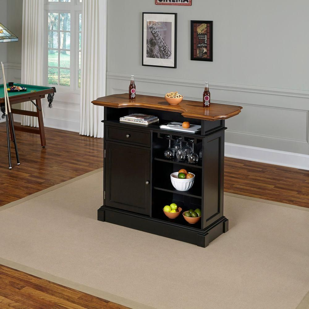Homestyles Americana 4 Shelf Black And Oak Bar With Foot Rail 5003 99 The Home Depot Bars For Home Home Styles Furniture
